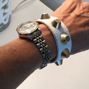 White leather with gold studs bracelet